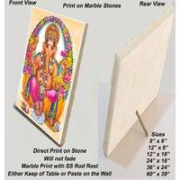 "Jai Ganesh Print on Marble Stone Sized 12""x8"""