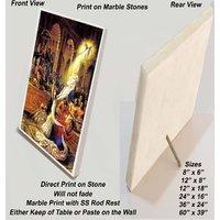 "iskcon Krishna Print on Marble Stone Sized 12""x8"""