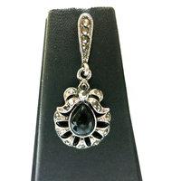 Chamakdamak Oxidised Silver Water Drop Earrings With Black Stone
