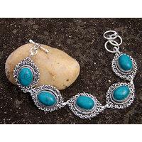 .925 Silver Metal Turquoise Bracelet