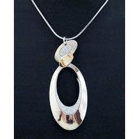 Chamakdamak Silver Ovals Pendant With Diamonds