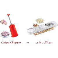 Lucky Gold  Combo Of Onion Chopper & 2 In 1 Slicer - 10