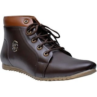 Brown Brish Ankle Length Boots For Men