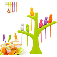Arts & Kraft Trees Bird Fruit Fork Tableware Dinnerware Sets Birdie Green Fruit Fork
