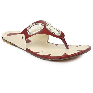 Ria Exclusive Footwear FLAT LADIES FANCY CHAPPAL Colour Brown And Cream