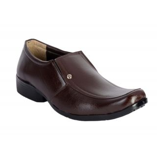 Shoeniverse Mens Brown Formal Slip On Shoes
