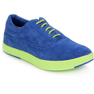 Spunk Men Blue  Lime Green Casual Shoes