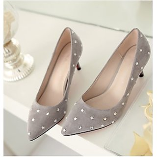 Starlet Grey  Rhinestone High Heel Shoes Woman Suede Pointed Stiletto Dress Shoes