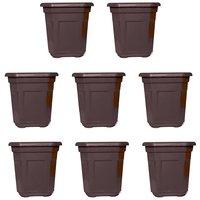 Small Octagonal Brown Pot (Set Of 8) (Height 10 Cm, Top Width 9.5 Cm X 9.5 Cm)