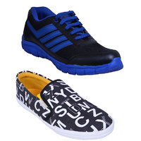 Smithsoul Black Blue Sports Shoes Combo With Black Casual Shoes