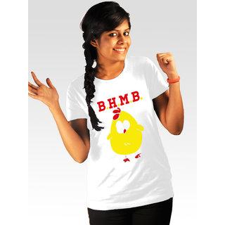 Incynk Women's Bade Hokar Maal Banegi Tee (White)