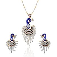 The Pari's Meena Peacock Pendant With Earrings