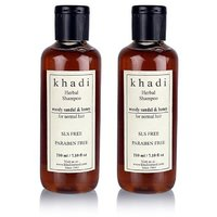 Khadi Woody Sandal  Honey Herbal Shampoo - Sls  Paraben Free - 210ml (Set Of 2)