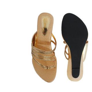 Velvet Women Golden Party Wear Heel