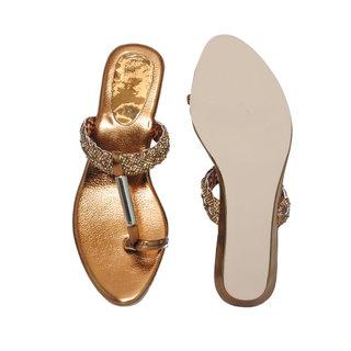 Velvet Women Party Wear Brown Fancy Sandal