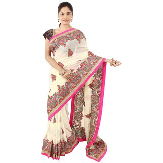 4db39d3579308 Buy Daamann by Mohit Falod Cream Georgette Saree Online - Get 45% Off