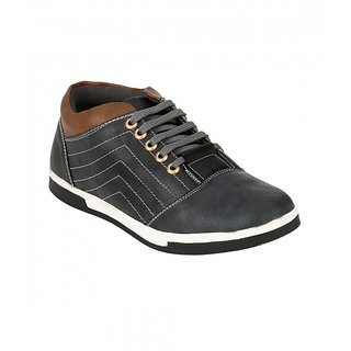 Troy Mens TC296 Black Faux Leather Casual Shoes