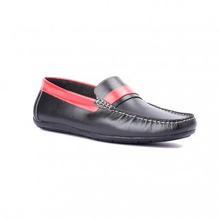 FLOURISH Black  Red Color Genuine Leather Driving Shoes
