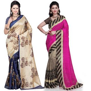 Janasya Bhagalpuri Silk Sarees (Pack of 2)