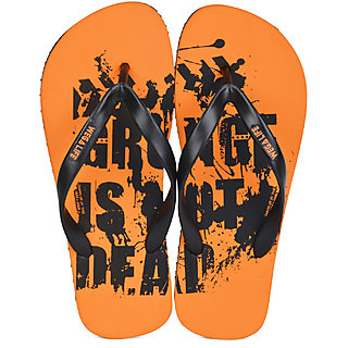 Wega Life Men Orange  Black Flip-Flops
