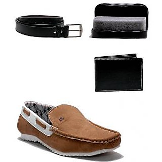 AT Classic Beige Slip-On Combo Loafers