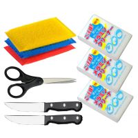 Magic Home And Kitchen Accessories 2 Pc Knife,1 Pc Scissors, 4 Pc Scrubber And 3 Pc Magic Cleaning Soap