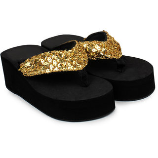 Do Bhai WomenS Gold Heel Sandals (Sippy-Gola-Golden)