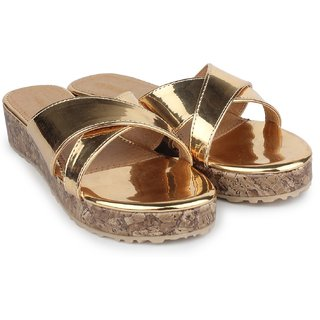 Do Bhai WomenS Gold Heel Sandals (Metalic-Arba-Golden)