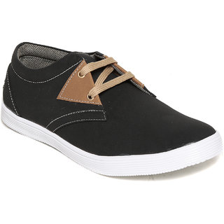 Squarefeet MenS Black Lace-Up Casual Shoes (SqFSB-005Black)