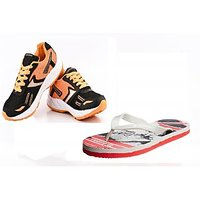 Provogue Black And Orange Running Sports Shoes With Lotto Slipper