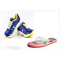 Provogue Blue And Yellow Running Sports Shoes With Lotto Slipper - 90485923