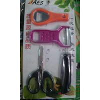 Set Of 4 Kitchen Tools - Knife,pealer,bottle Opener Scissor