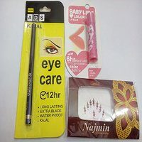 Combo Of Kajal, Lip Balm (colour And Shine) + 1 Free Gift Bindi Packet