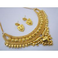 One Gram Gold Plated Beautiful Necklace Earrings Jewellery Set - 90811193
