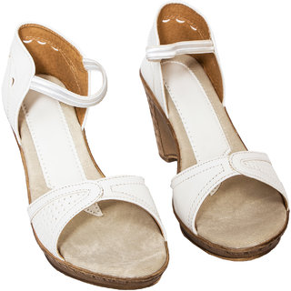 Rialto WomenS White Wedge Heel Sandals (RL-MP08-Whi)