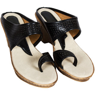 Rialto WomenS White Wedge Heel Sandals (RL-MP14-Blk)