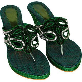 Rialto WomenS Green Wedge Heel Sandals (RL-MP27-Gr)