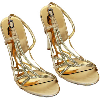 Rialto WomenS Gold Peep Toe Heel Sandals (RL-MP33-Gd)