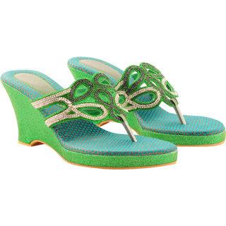 Rialto WomenS Green Wedge Heel Sandals (RL-MP07-Gr)