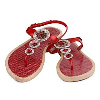 Do Bhai WomenS Red Velcro Flats (Baby-Red)