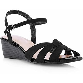Tresmode Recross Women Black Wedges Buckle Sandals