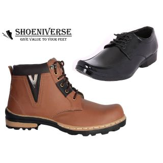 Shoeniverse Mens Brown Casual Boot With Black Formal Lace-Up Shoe Combo