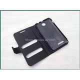 Micromax Canvas Viva A72 Faux Leather Caller ID Flip Case Cover - Black