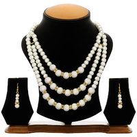 The Pari Trendy White & Golden Necklace Set With Earrings (Ey-11)