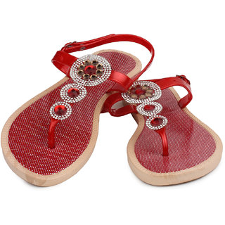 Do Bhai Women Red Buckle Flats (Baby-Red)