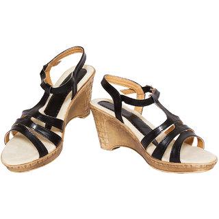 Rialto WomenS Black Casual Wedge Heel Sandals (Rialto-V78-Black)