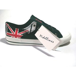 Black Colored Casual Shoe With England Flag Print