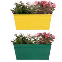 TrustBasket  Set Of 2 - Rectangular Railing Planter - Yellow And Green (12 Inch)