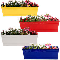TrustBasket Set Of 4 - Rectangular Railing Planter -Yellow, Red,White And Blue (18 Inch)