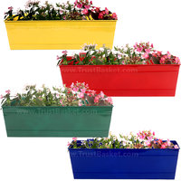 TrustBasket Set Of 4 - Rectangular Railing Planter -Yellow, Red,Green And Blue (18 Inch)